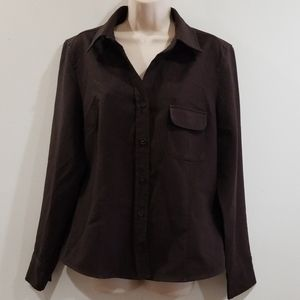 New York & company city stretch brown blouse